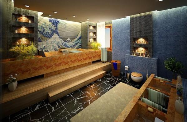 مدل حمام های لوکس و عظیم با دکوراسیونی رنگارنگ و شاد